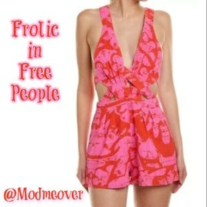 Free People Cut-Out Floral Button Romper NEW